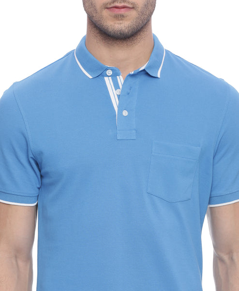 Solid Blue Polo Neck Pique Knit T-shirt