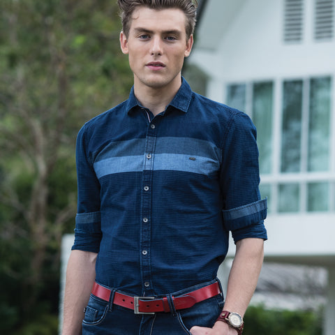 Turtle Navy Blue Vintage Indigo Casual Shirt With Engineered Stripes