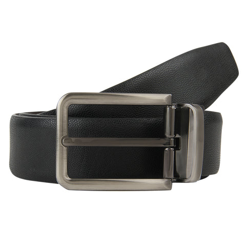 Turtle Men's Black Structured Leather Formal Belt