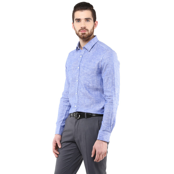 Blue Pure Linen Limited Edition Formal Shirt