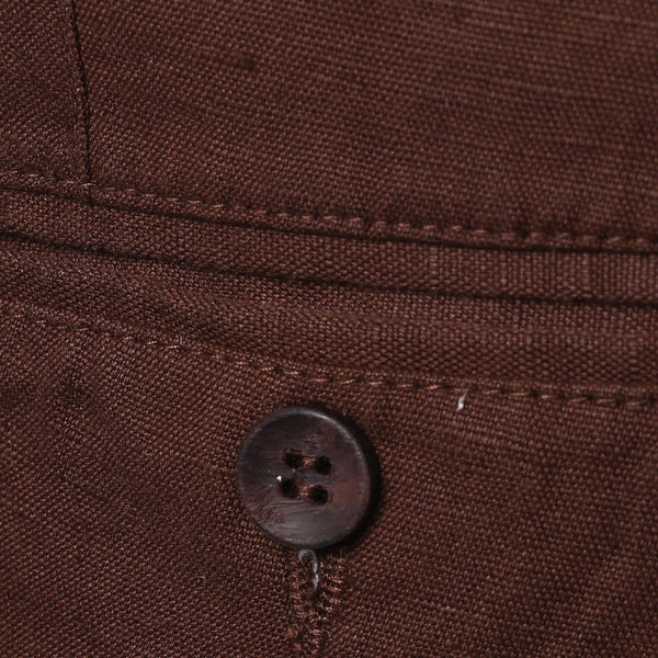 Turtle Men's Brown Solid Cotton Linen Chinos