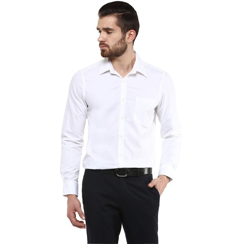 Turtle Men's Solid White Slim Fit Formal Shirt