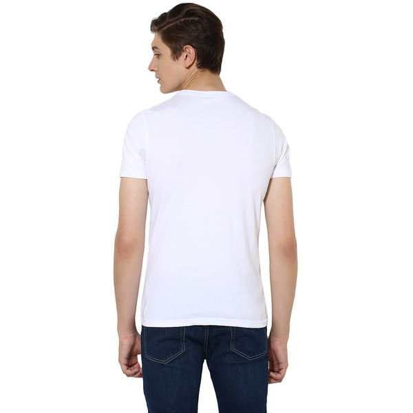 Turtle Men's Solid White Round Neck Slim Fit Single Jersey T-shirt