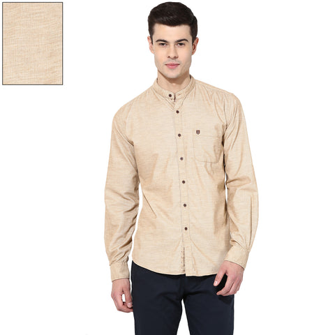 Beige Solid Corduroy Slim Fit Casual Shirt