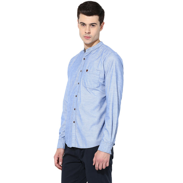 Blue Solid Corduroy Casual Shirt