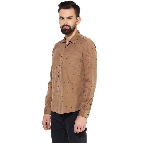 Brown Quirky Print Corduroy Casual Shirt