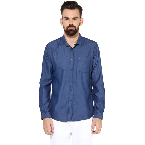 Turtle Men's Indigo Blue Solid Slim Fit Casual Shirt