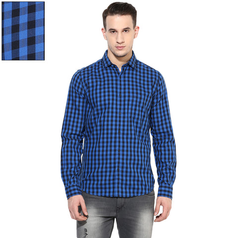 Blue And Black Checkered Slim Fit Casual Shirt