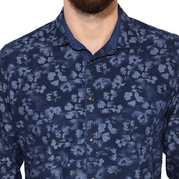Indigo Blue Floral Print Reversible Casual Shirt