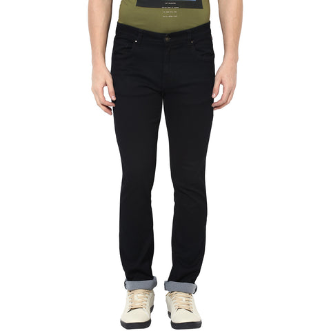 Black Low Rise Slim Fit Denims With Stretch