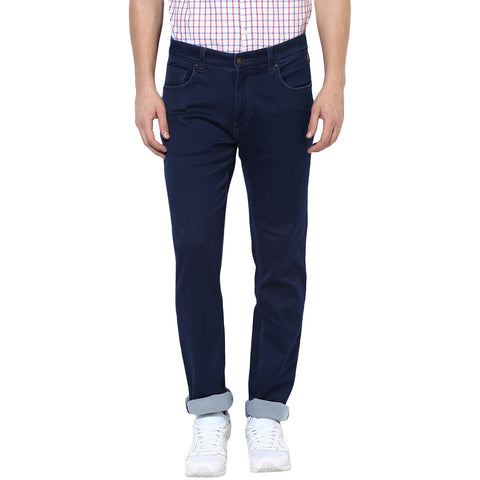 Indigo Blue Low Rise Slim Fit Denims With Stretch