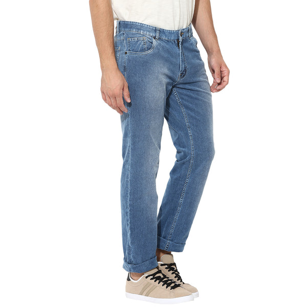 Blue Corduroy Stretch Denims