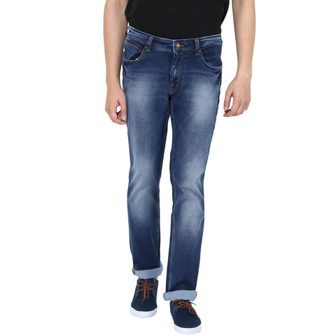 Blue Low Rise Slim Fit Ripped Denims With Stretch