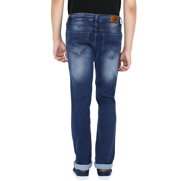 Blue Low Rise Ripped Denims With Stretch
