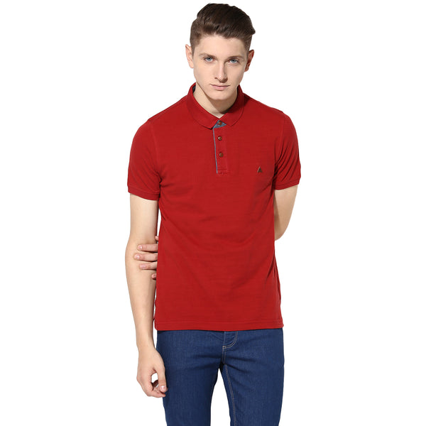 Turtle Men's Solid Red Polo Neck T-Shirt