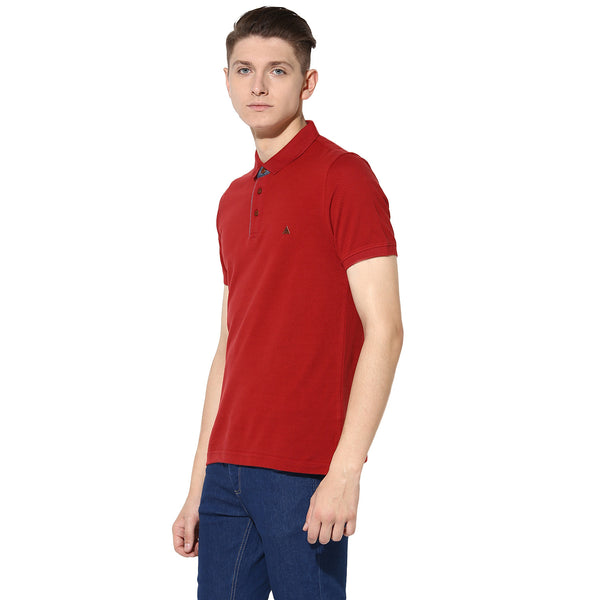 Turtle Men's Solid Red Polo Neck Slim Fit T-Shirt