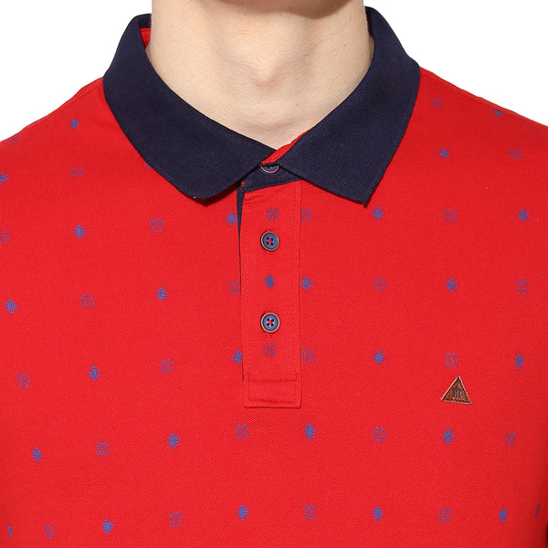 Turtle Men's Red Printed Polo Neck T-Shirt
