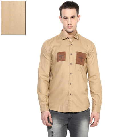 Beige Slim Fit Casual Shirt With Printed Mélange Patch Design