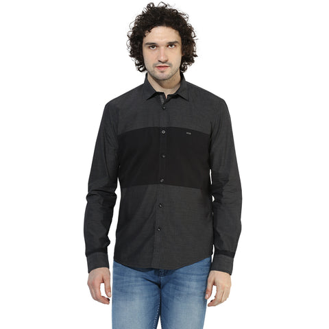 Black Engineered Slim Fit Casual Shirt