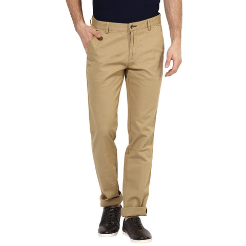 Beige Structured Chinos With Stretch