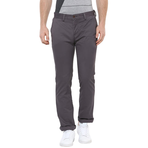 Solid Grey Casual Trousers