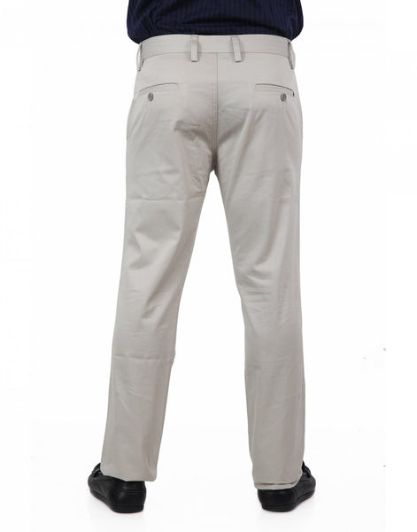 Grey Solid Casual Trouser