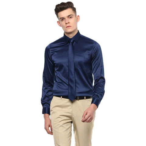 Navy Blue Poly Satin Partywear Shirt With Tie