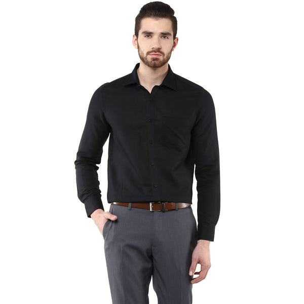 Turtle Solid Black Cotton Linen Formal Shirt