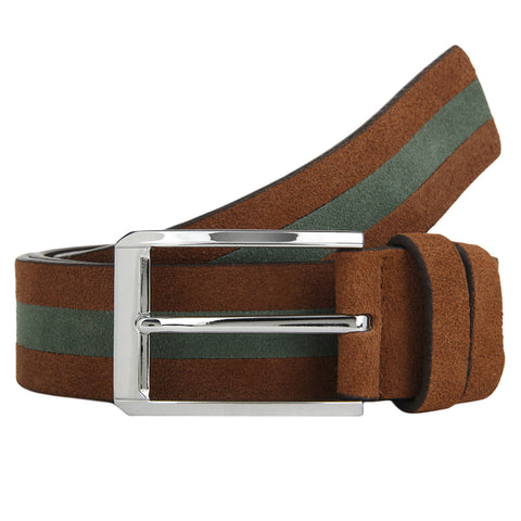 Turtle Brown & Grey Suede Designer Belt