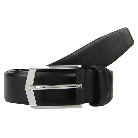 Turtle Black Leather Formal Belt With Designer Buckle
