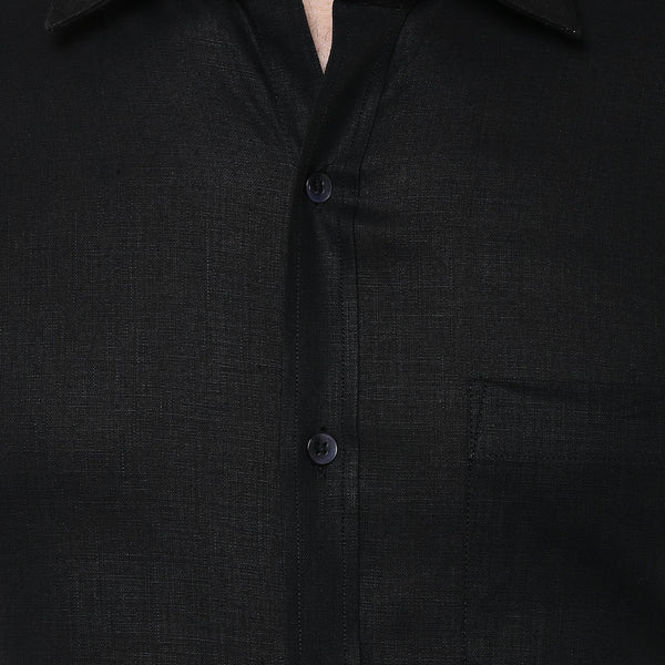 Black Pure Linen Limited Edition Regular Fit Half Sleeve Formal Shirt