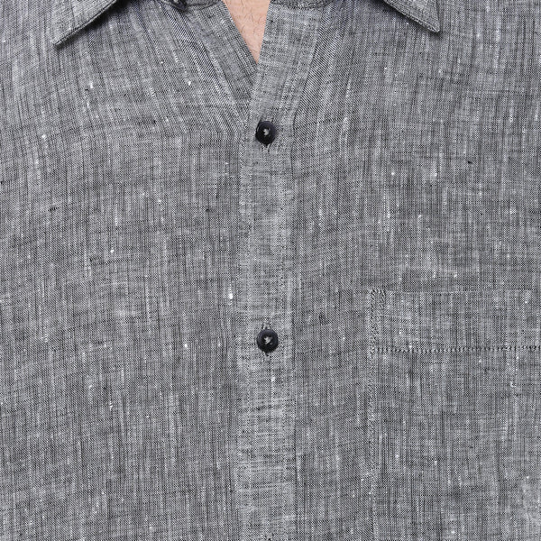Grey Pure Linen Limited Edition Regular Fit Formal Shirt