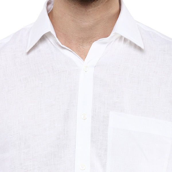 White Pure Linen Limited Edition Formal Shirt