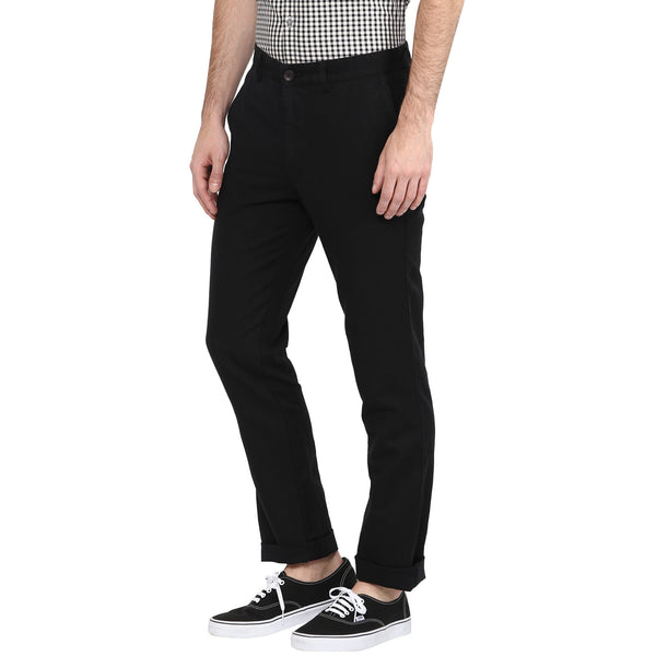 Turtle Men's Black Solid Cotton Linen Casual Trouser