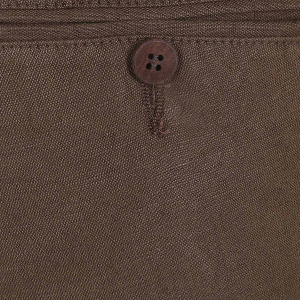 Turtle Men's Olive Green Cotton Linen Solid Chinos
