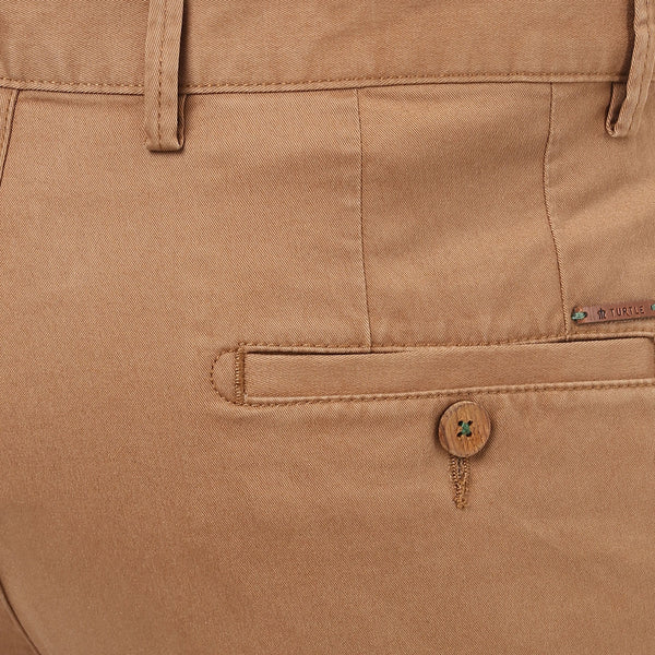 Turtle Men's Light Brown Stretchable Slim Fit Casual Trouser