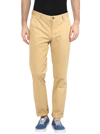 Beige Stretchable Solid Casual Trouser