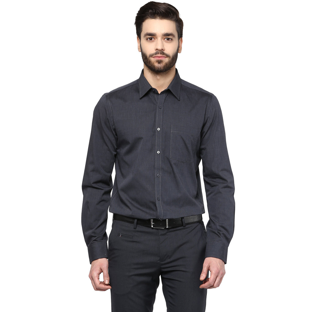 Turtle Men's Solid Black Slim Fit Formal Shirt