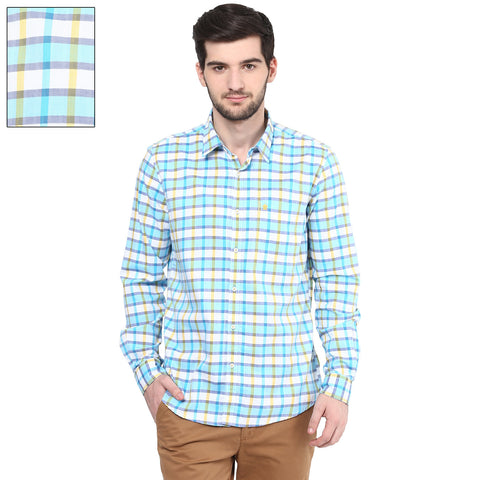Blue And Yellow Checkered Casual Shirt