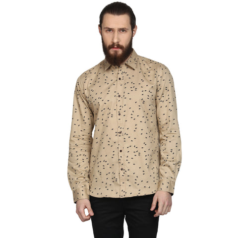 Beige Bird Print Slim Fit Casual Shirt