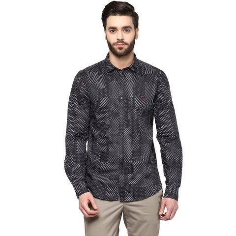 Black Quirky Print Casual Shirt