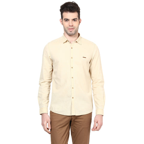 Beige Solid Cotton Linen Slim Fit Casual Shirt