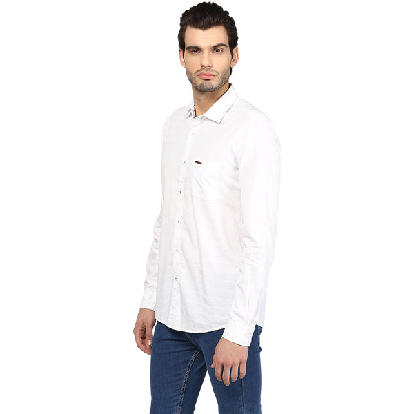 White Solid Casual Shirt