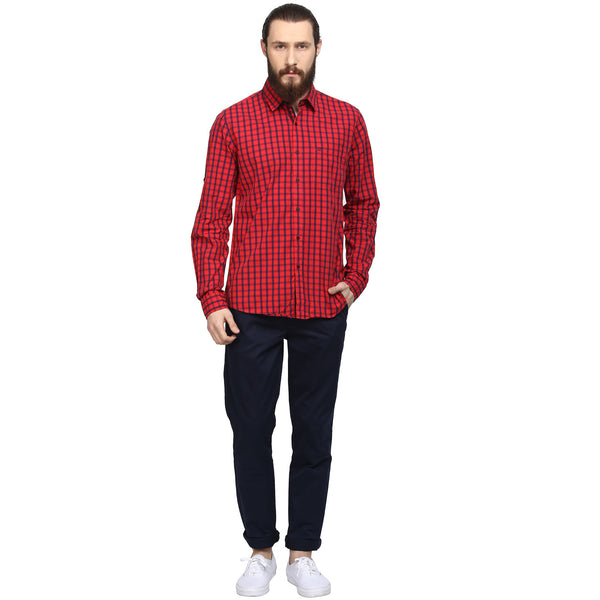 Red And Blue Checks Casual Shirt