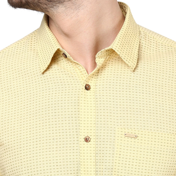 Yellow Printed Handwoven Shirt