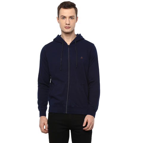 Indigo Blue Solid Hooded Sweatshirt
