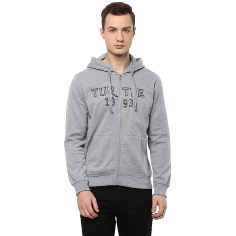 Grey Solid Hooded Front Open Sweatshirt