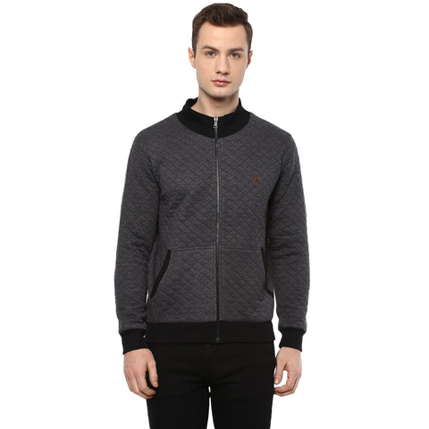 Black Quilted Reversible High Neck Sweatshirt