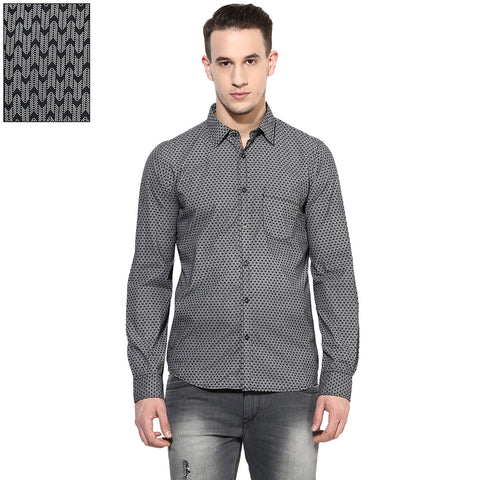 Black Quirky Print Slim Fit Casual Shirt