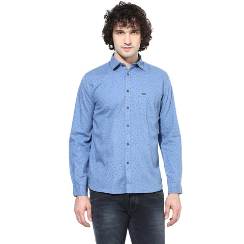 Blue Bird Print Slim Fit Casual Shirt